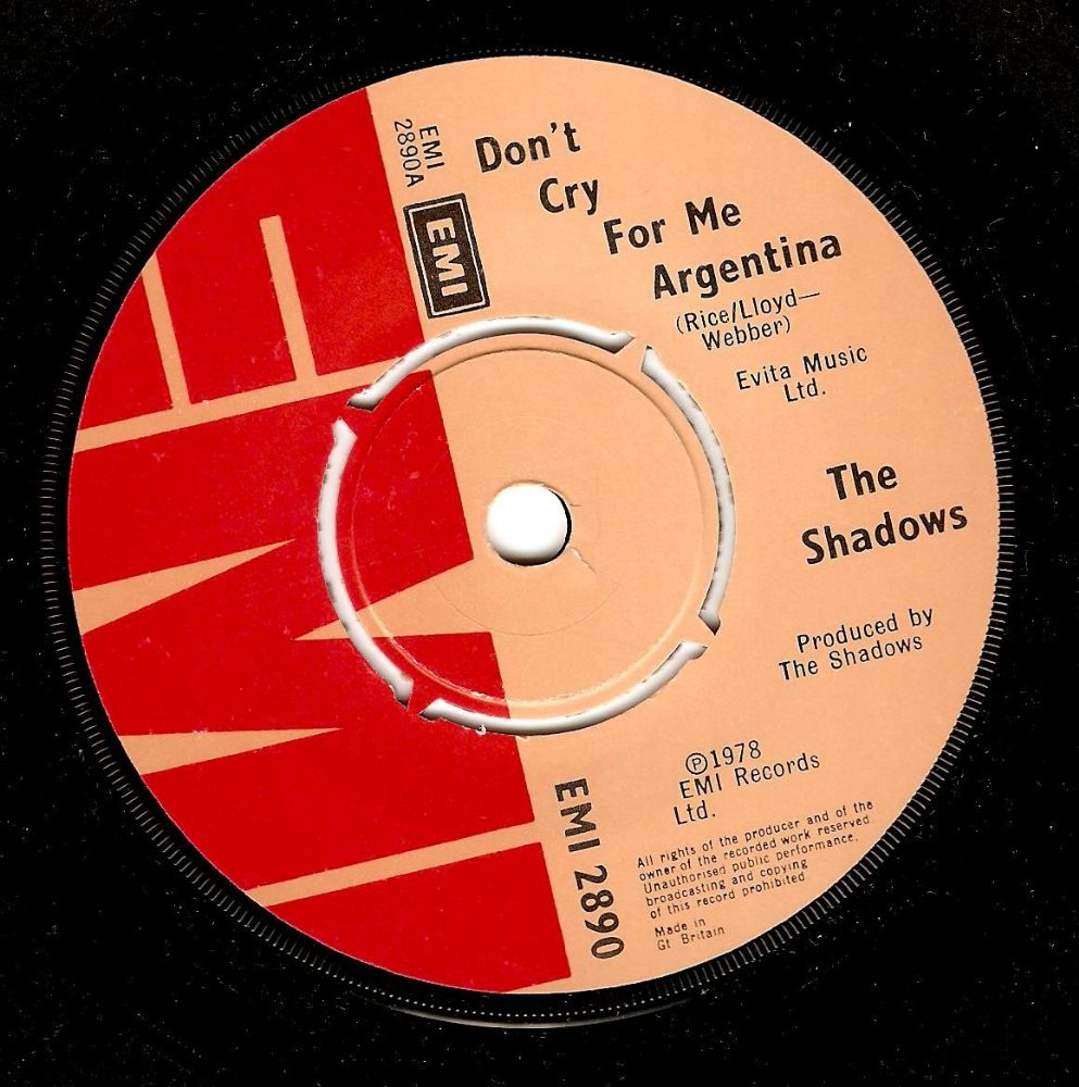 THE SHADOWS Don't Cry For Me Argentina Vinyl Record 7 Inch EMI 1978